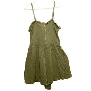NWT Plus Size Olive Fitted Top Flowy Short Romper
